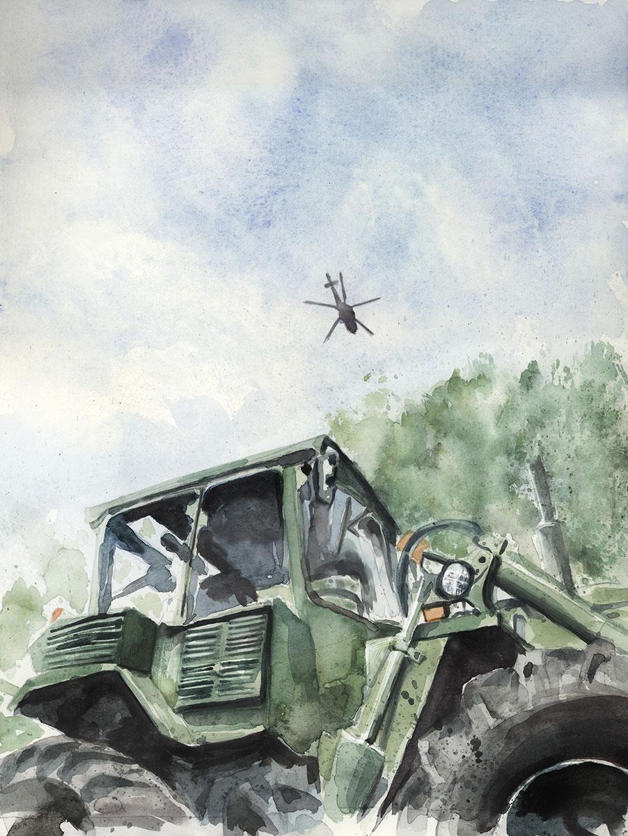 Militärfordon akvarell för Länsstyrelsen av Magnus Sjöberg Design
