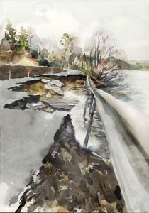 Översvämning av väg. Illustration. Akvarell för Länsstyrelsen av Magnus Sjöberg Design