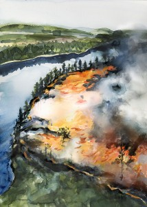 Skogsbrand illustration för Länsstyrelsen av Magnus Sjöberg